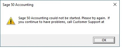 Sage 50 Could Not Be Started Error Message