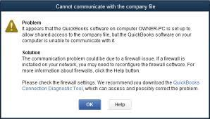 Can't Communicate With The Company File