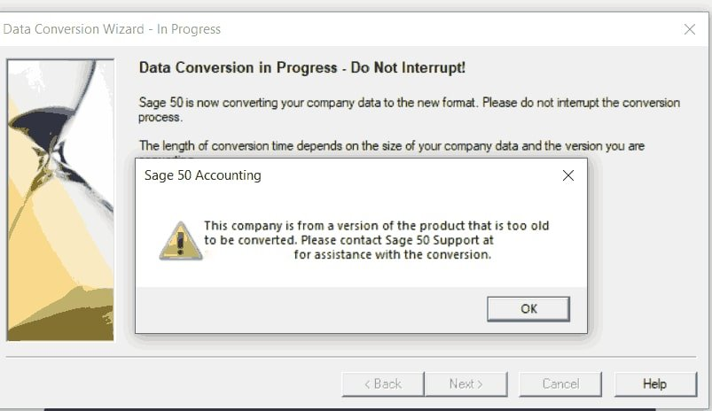 Sage Data Conversion To Old Version